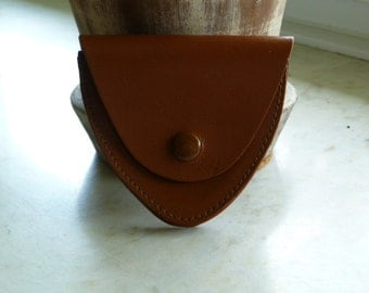 Leather triangular coin wallet purse