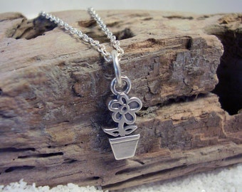 Pot of Flowers Charm Necklace - Sterling Silver Jewelry - Simplicity Necklace