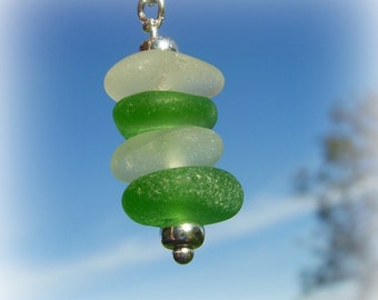 Seaglass Jewelry Pendant - Green and White Seaglass Stacker Pendant - Genuine Sea Glass Jewelry