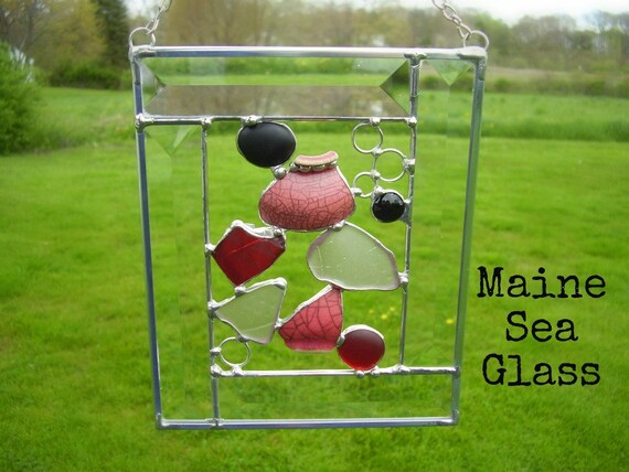 Suncatcher - Maine Seaglass, Pottery and Beveled Glass - Extremely RARE Red Seaglass - Genuine Maine Sea Glass and Pottery
