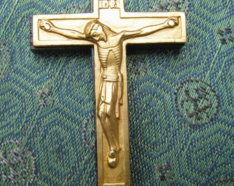 SALE Vintage Gold Crucifix with Wooden Back