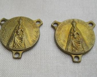 Pair of Vintage Brass Rosary Centers, Notre Dame de Liesse