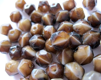 SALE: Vintage 7mm  Brown Agate Faceted Glass Beads, lot of 60