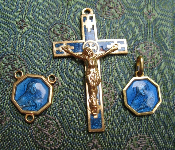 Trio: Vintage Gold Plated St. Therese Center,  Blue Enameled Crucifix, and Medal