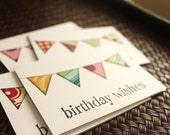 Birthday Card Set, White Assorted Bunting, Hand Stamped, 3x4 Inch Heavy Card Stock - Set of 6 Cards