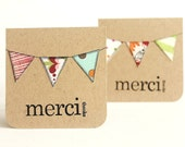 Thank You Cards, Merci, Assorted Kraft Bunting, Hand Stamped, 3x3 Inch Heavy Card Stock - Set of 6 Cards