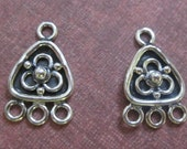 SALE!! 30% OFF!! One Pair Antiqued Sterling Silver Triangle Drops Dangles Focal Earrings Jewelry