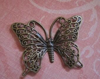 Antiqued Brass Fancy Butterfly Focal Pendant Charm 36mm x 26mm