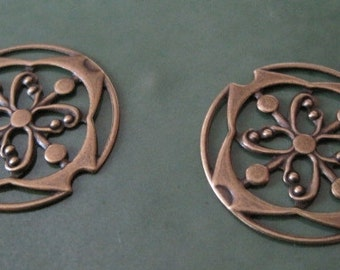 2 Pc Vintage Brass Fancy Jewelry Component Charm Finding Stamping One Sided