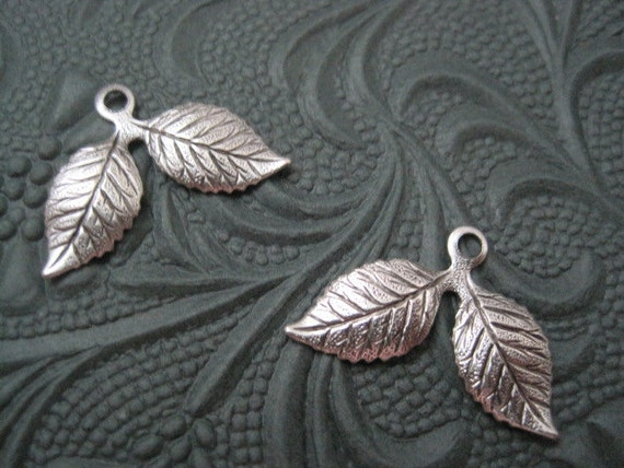 2 Antiqued Sterling Silver Plated Brass Double Leaf Charms Stampings Jewelry