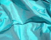 Turquoise-Powder Blue-100 Percent Pure Silk Dupioni Fabric - 1/2 Yard