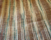 KHADI Fabric fat quarter-Two tone Iridescent Indian Khadi COTTON-Cream with Brown and Blue stripes