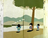 Reserved for knitmachine -Vintage- Japanese Noren Curtain