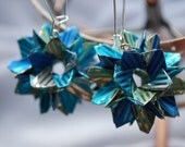 Origami earrings - blue, silver and pistachio strips