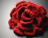 Valentines Day Gift Idea, Red Rose, Flower Brooch, Crochet Brooch, Red Brooch, Red Flower, Red Flower Brooch, Red Crochet Flower Brooch