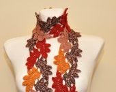 CIJ SALE - Multicolor crochet lace scarf, neck warmer