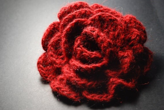 Valentines Gift Idea, Fabric Brooch, Red Rose, Flower Brooch, Crochet Brooch, Red Brooch, Red Flower Brooch, Red Crochet Flower Brooch