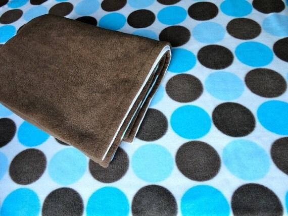 Blanket and PlayYard Sheet Set: Handmade Fleece Bedding Set for Babies 'Blue & Brown' Polka Dot Print