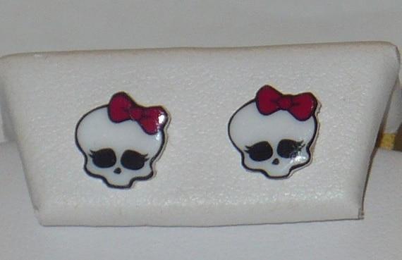 Monster High Dolls Inspired Skullete Skull Stud Earrings Bow Handmade New