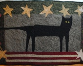 Scary Black Cat Hand Hooked Wool Rug