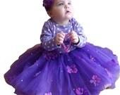 1st birthday outfit- 1st birthday dress- baby tutu- Violet's Signature Tutu Set- Flower Headband Baby and Girls