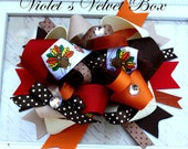 OVER THE TOP Bow-  Boutique Bow- Thanksgiving Hair Bow- Luxurious bow by Violet's Velvet Box