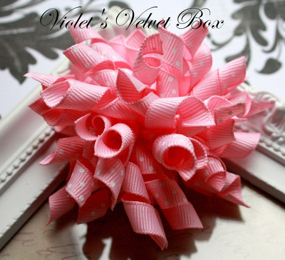 Pink Korker Hair Bow- SALE-  Korker Bows with no slip grips- Babies & Girls by Violet's Velvet Box