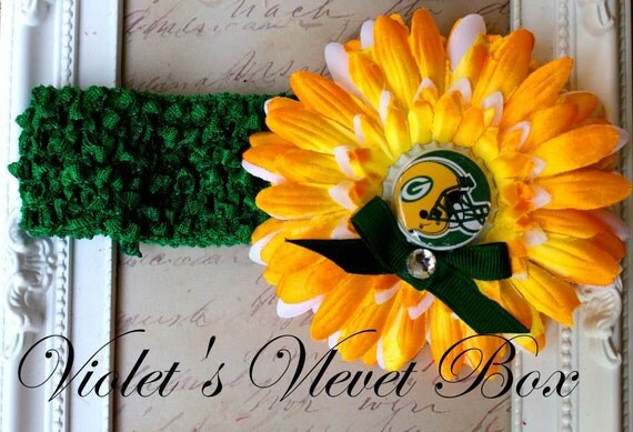 Green Bay Packers Bow Headband Baby Girls luxury boutique bow by Violet's Velvet Box