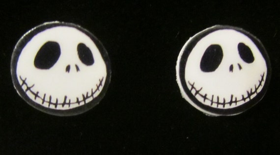 Nightmare Before Christmas Inspired Jack Skellington Stud Earrings Handmade
