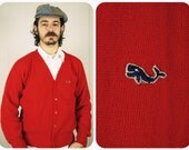 Mens Red Whale Cardigan Large