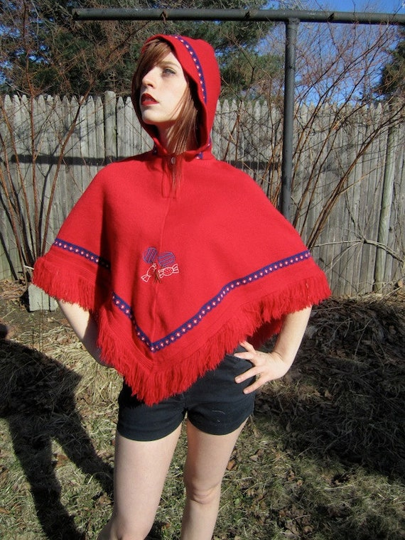 Little Red Riding Hooded Poncho Cape