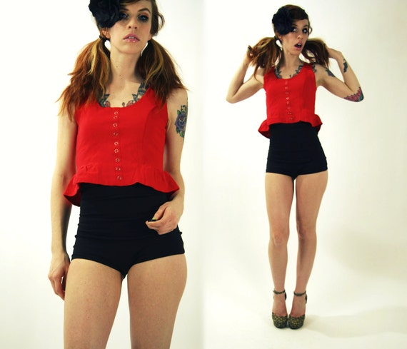 Rockabilly Red Tank Top Pin Up Small XS
