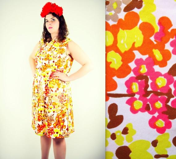 60's Tangerine Orange Pansy Day Dress XL-Plua Size