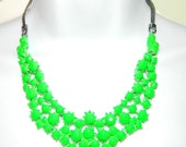 Painted rhinestone necklace Bright Green