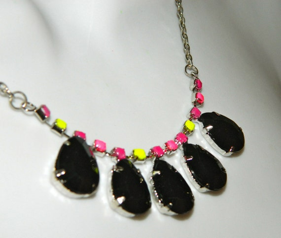 Hand Painted rhinestone necklace Neon yellow Hot pink