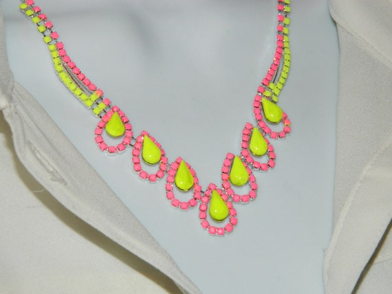 Hand Painted rhinestone necklace neon yellow and hot pink