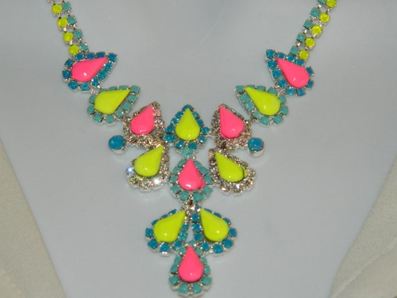 Painted rhinestone necklace colorful neon yellow pink and light mint blue