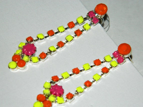 Hand Painted rhinestone Earrings neon yellow Orange hot pink