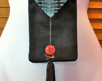 Kimono iphone everything bag with cinnabar bead and tassel