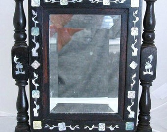 Blackwood Chinese mirror with mother of pearl inlay