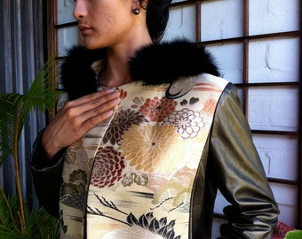 Stunning One of a kind japanese obi and metallic leather jacket with fox fur trim hood, Size M SALE