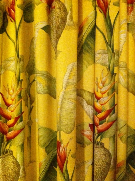 103 x 86 hawaiian barkcloth fabric curtain for Tropical themed kitchen
