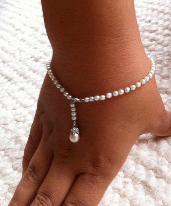 Vintage pearl bracelet with marcasite pearl drop, Religious Confirmation Celebratory gift for a girl