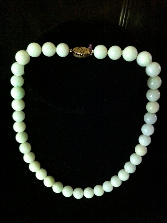 14K vintage natural jade necklace with chinese character clasp -  Stunning Sale from 800