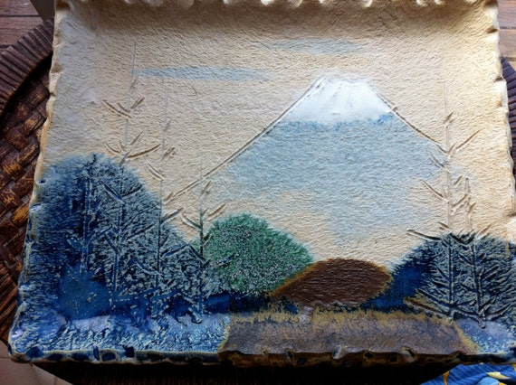 Substantial Japanese Ceramic Mt. Fuji Wall Decor Platter ON SALE 1/2 price from 105.00