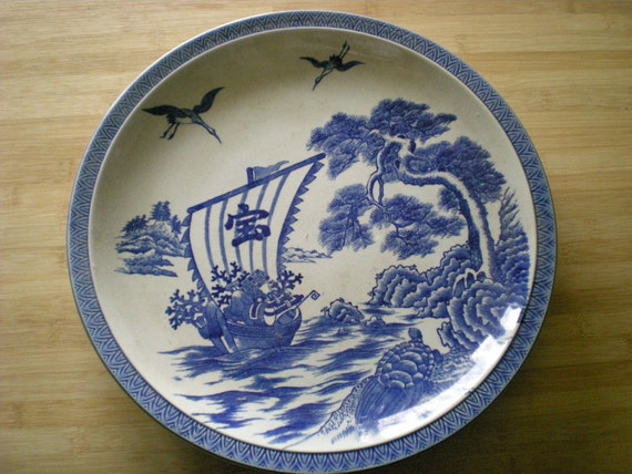 Large Vintage Japanese Porcelain Blue And White By