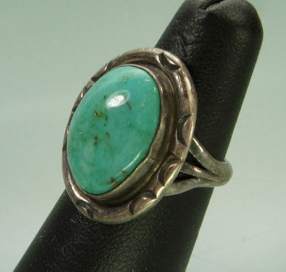 C 1940 Navajo Silver Ring Large Turquoise Cabochon Native American