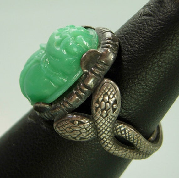 1910 Deco Egyptian Revival Glass Scarab Snake Ring Silverplated Art Nouveau Czech Antique