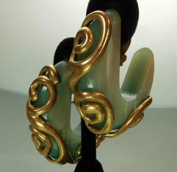 80s Dominique Aurientis Paris Big Aqua, Goldtone Earrings Runway Statement