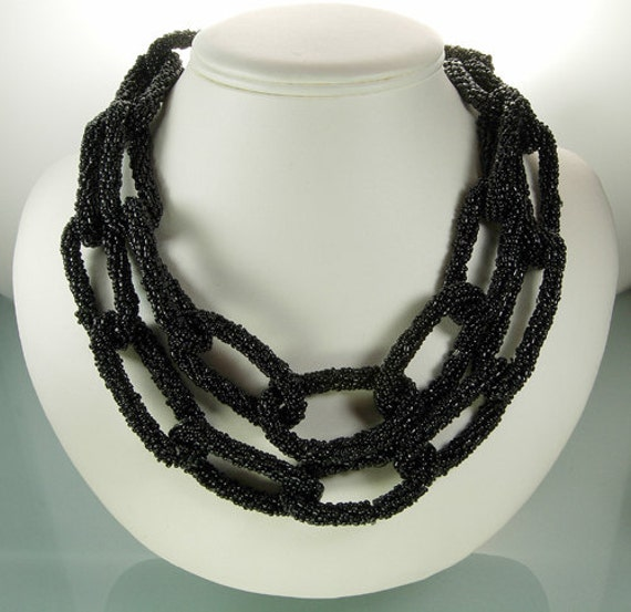 1970s French Glass Beaded Chain Form Statement Necklace Conterie Woven Beads
